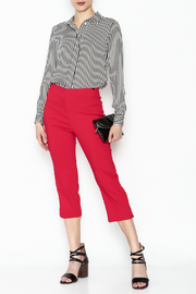 French Dressing Jeans Red Stretch Capri - Side cropped