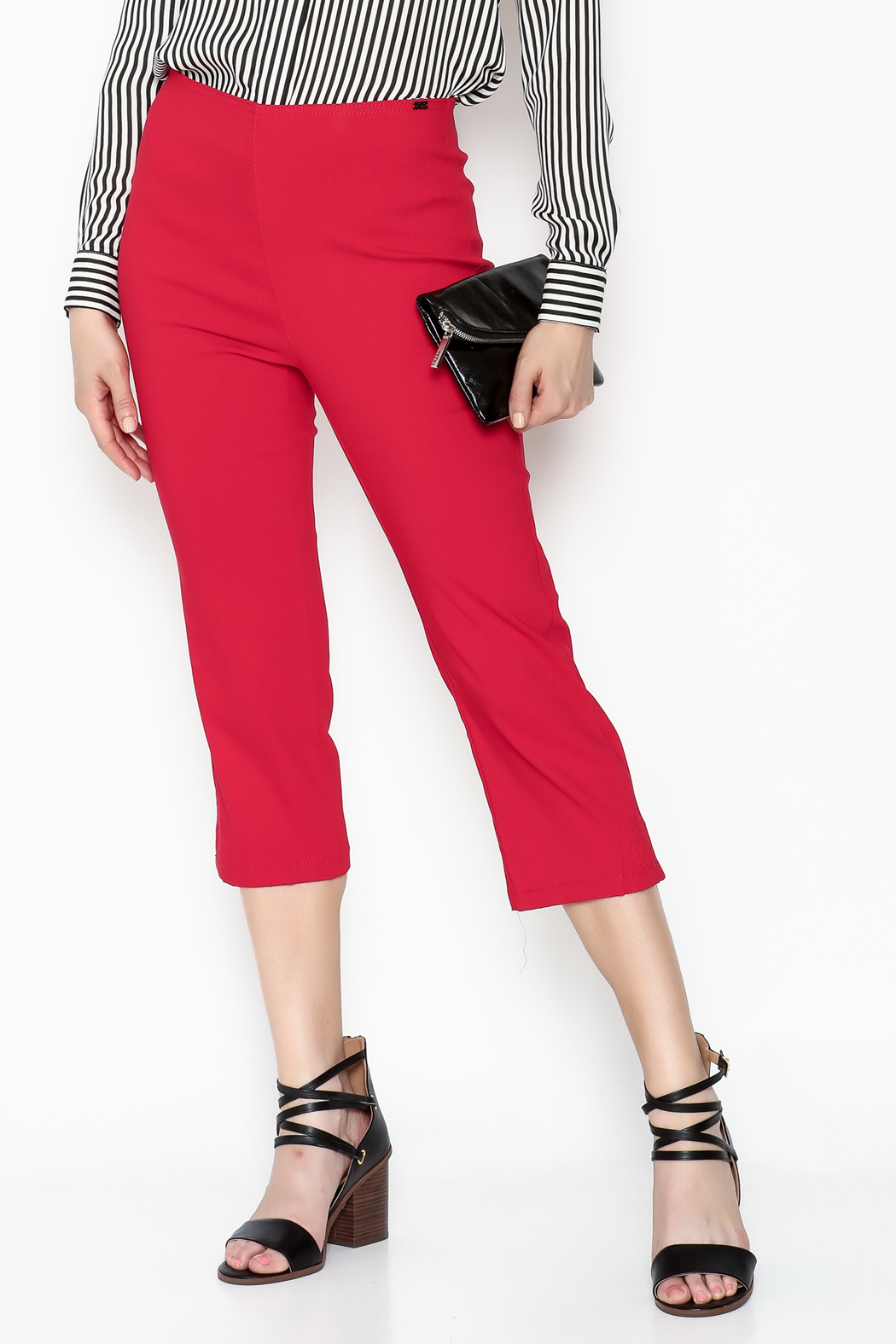 French Dressing Jeans Red Stretch Capri - Main Image
