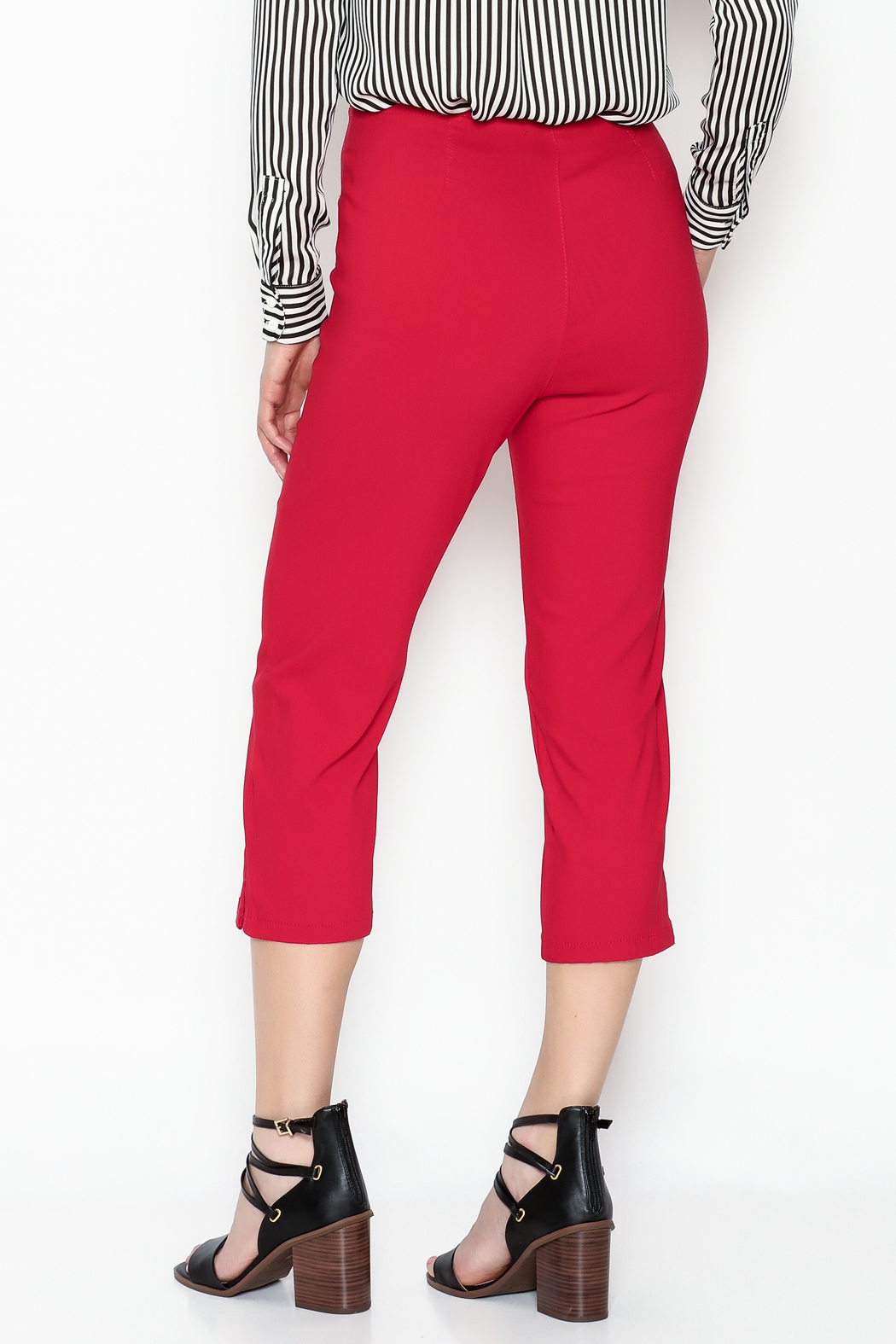 French Dressing Jeans Red Stretch Capri - Back Cropped Image
