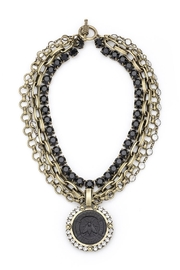 French Kande four strand statement necklace with bee medallion - Product Mini Image