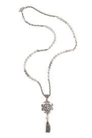 French Kande necklace with agates, swarovski and an Angel medallion - Product Mini Image