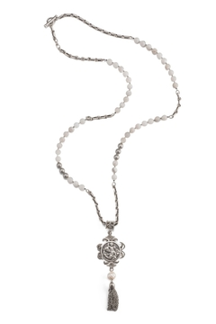 French Kande necklace with  Saint Christopher meal and tassel - Alternate List Image