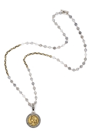French Kande necklace with swarovski,cloudy quartz and Chemins medallion - Front cropped