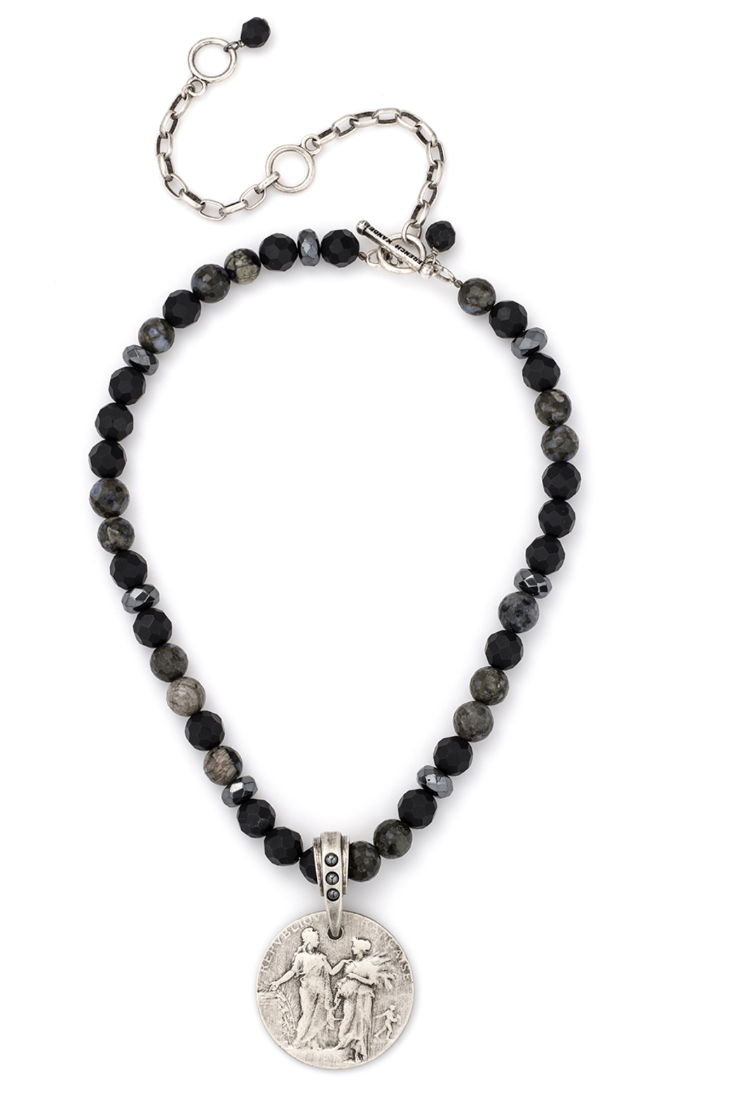 French Kande onyx and hematite necklace with Republique medallion - Main Image
