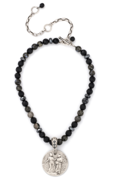 French Kande onyx and hematite necklace with Republique medallion - Alternate List Image