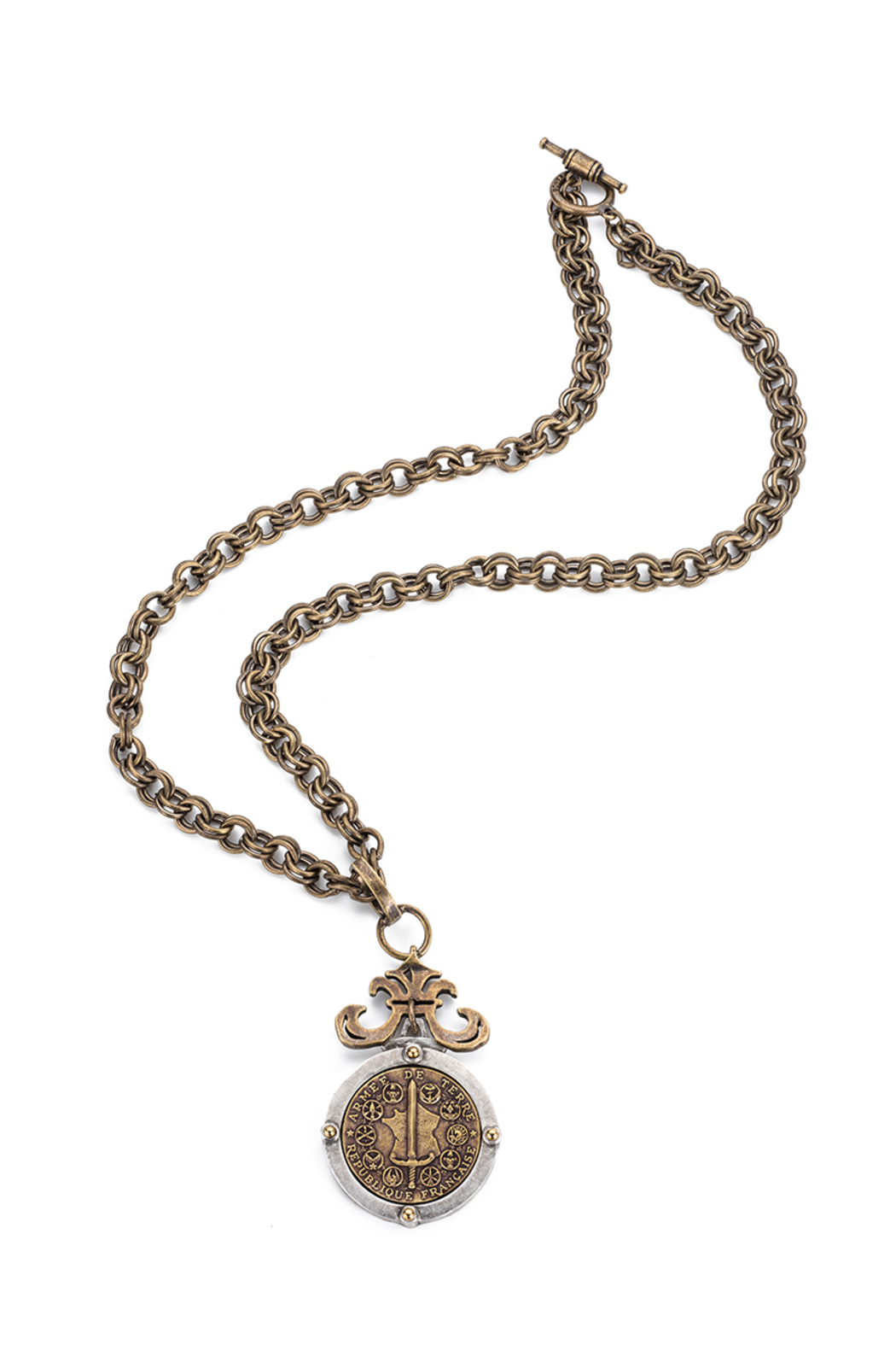 French Kande provence chain necklace with DU TERRE medallion - Main Image