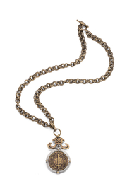 French Kande provence chain necklace with DU TERRE medallion - Front cropped