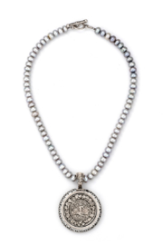French Kande silver pearls with  Famille medallion and swarovski - Product Mini Image