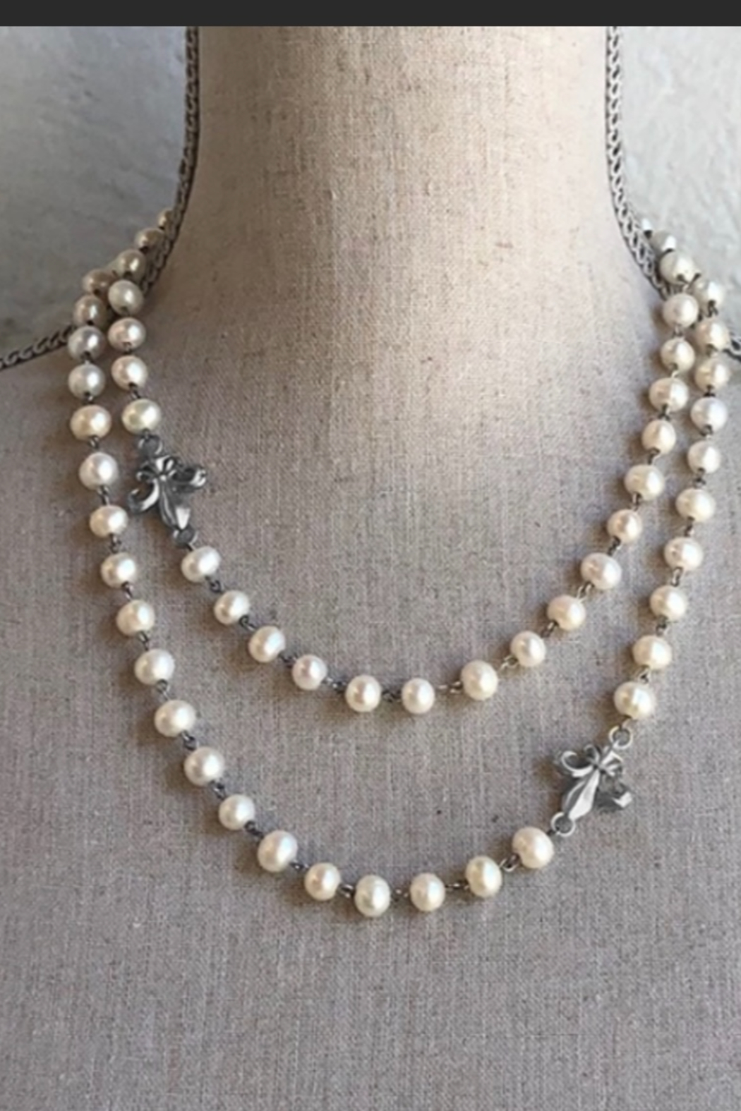 French Kande White Pearl Sterling Clad Necklace - Main Image