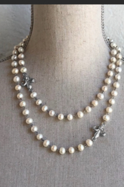 French Kande White Pearl Sterling Clad Necklace - Product Mini Image