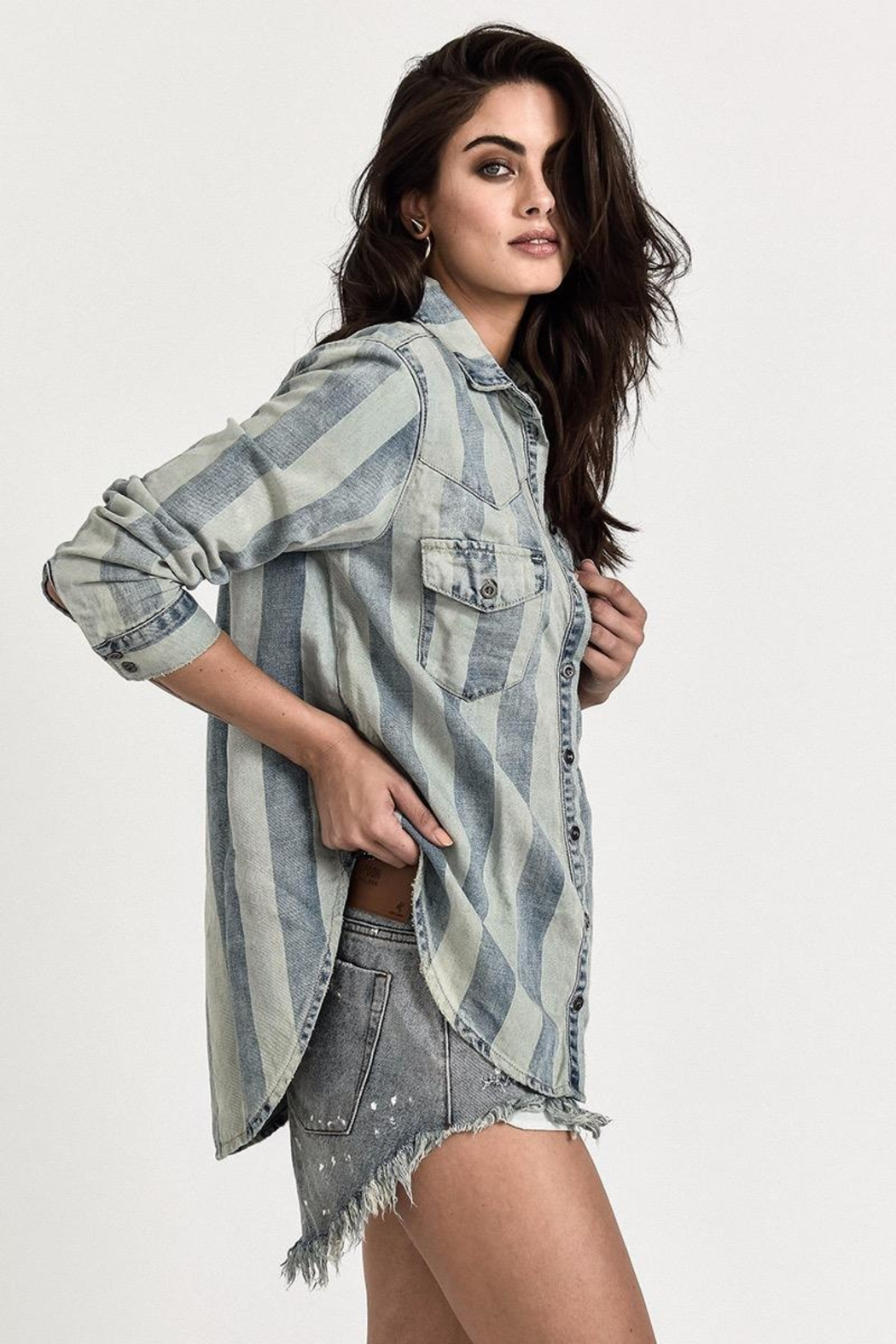 One Teaspoon French Stripe Shirt - Front Full Image