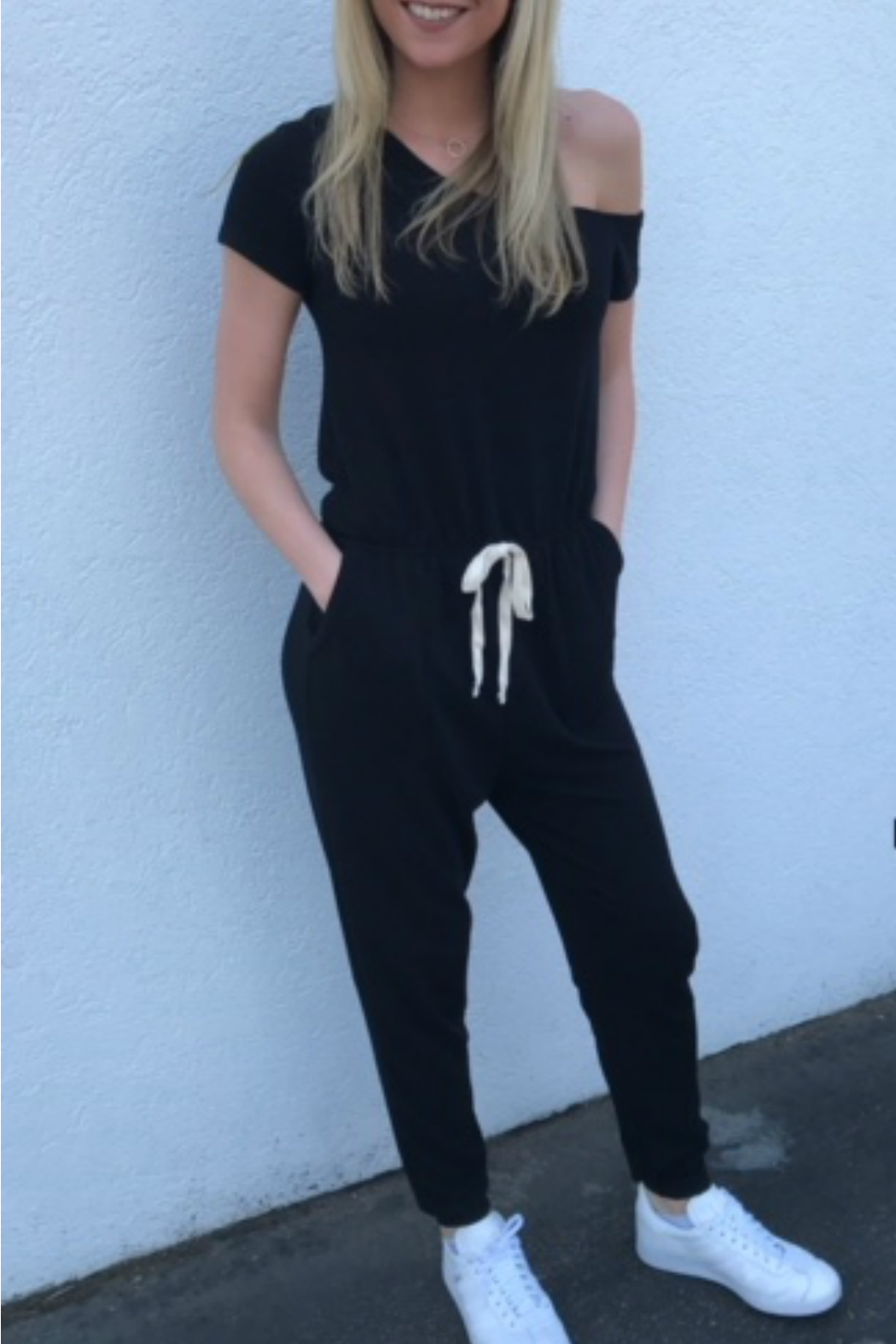 Six Fifty French Terry Belted Jumpsuit - Front Cropped Image