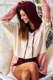 Bibi French Terry Color Block Hoodie Top - Product Mini Image