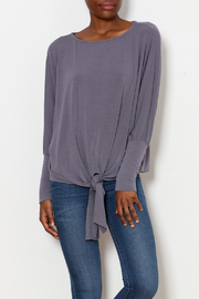 Jolie french Terry Dolman Tie Front Top - Product Mini Image