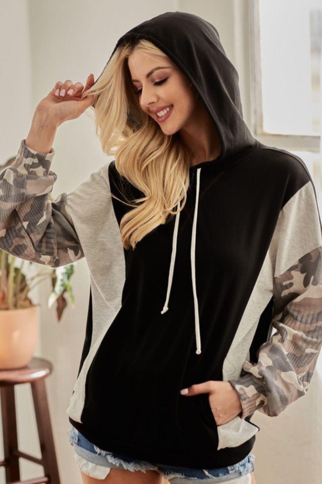 Bibi French Terry Hoodie with Contrast Block - Front Cropped Image