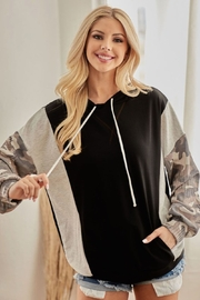 Bibi French Terry Hoodie with Contrast Block - Front full body