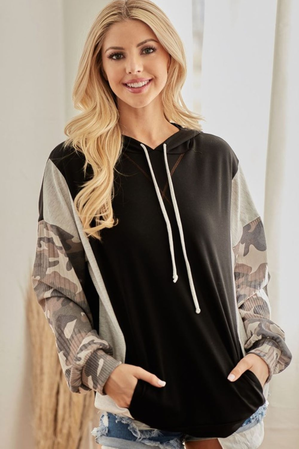Bibi French Terry Hoodie with Contrast Block - Side Cropped Image