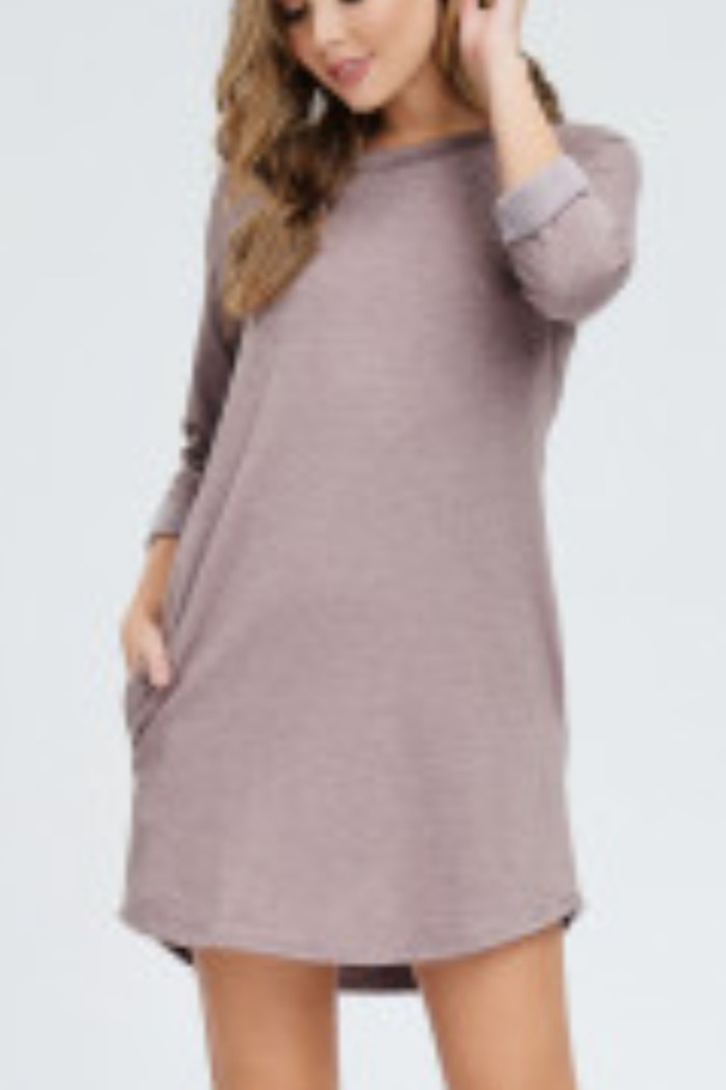 Lyn-Maree's  French Terry Raglan T-Shirt Dress - Front Cropped Image