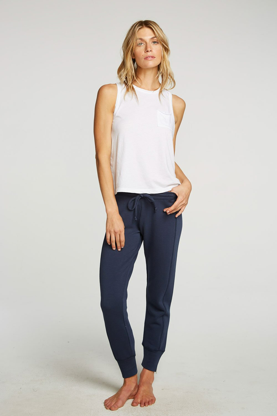 Chaser French Terry Side Zip Joggers - Back Cropped Image