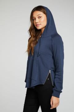 Chaser French Terry Side Zip Shirttail Hoodie - Product List Image