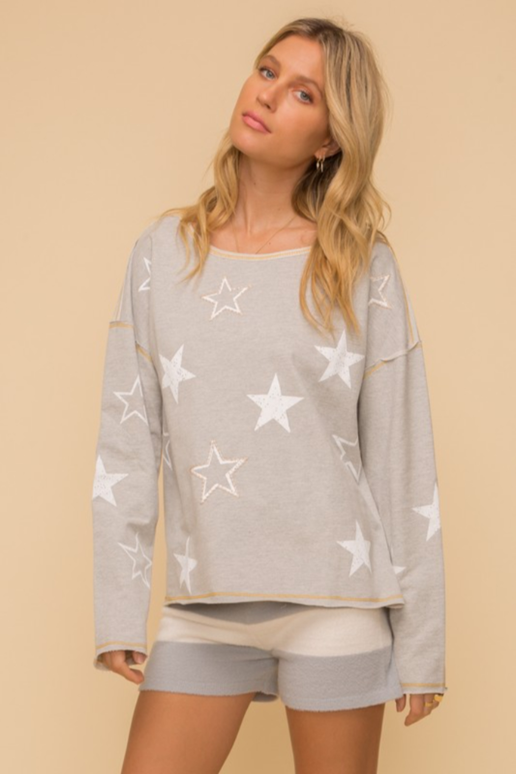 Hem and Thread French Terry Star Print - Main Image