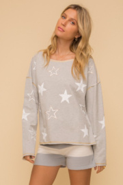 Hem and Thread French Terry Star Print - Front cropped
