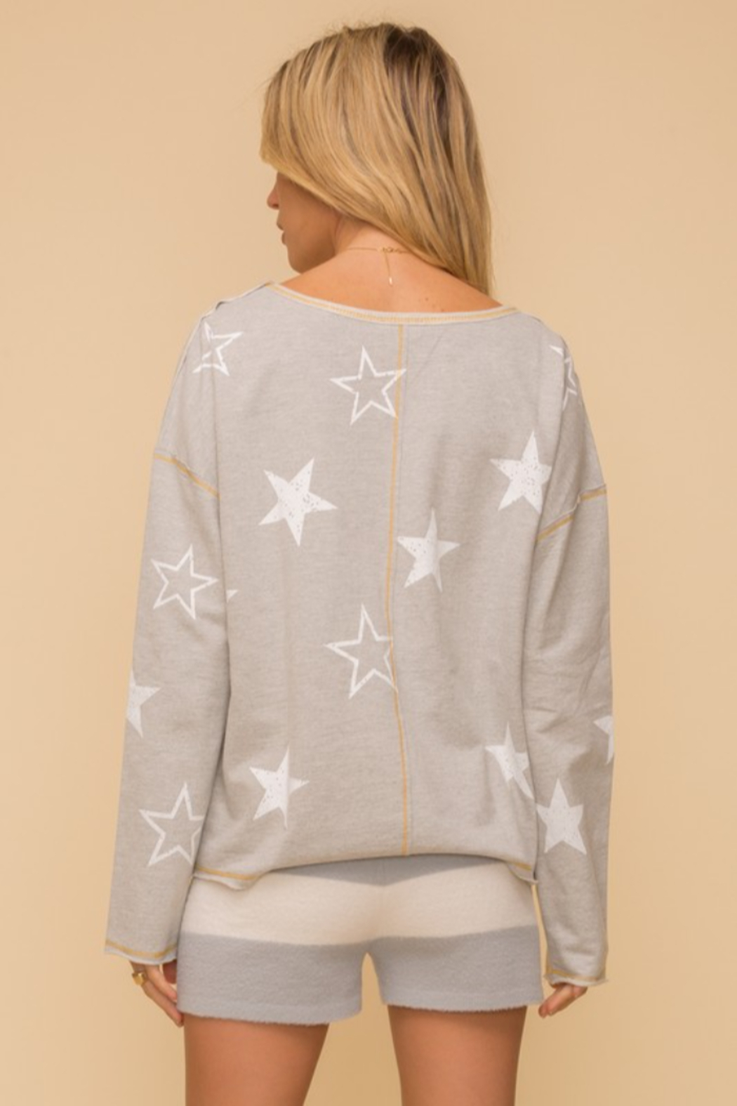 Hem and Thread French Terry Star Print - Side Cropped Image