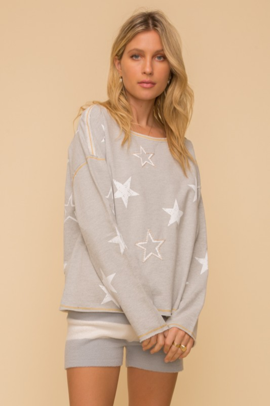 Hem and Thread French Terry Star Print - Front Full Image