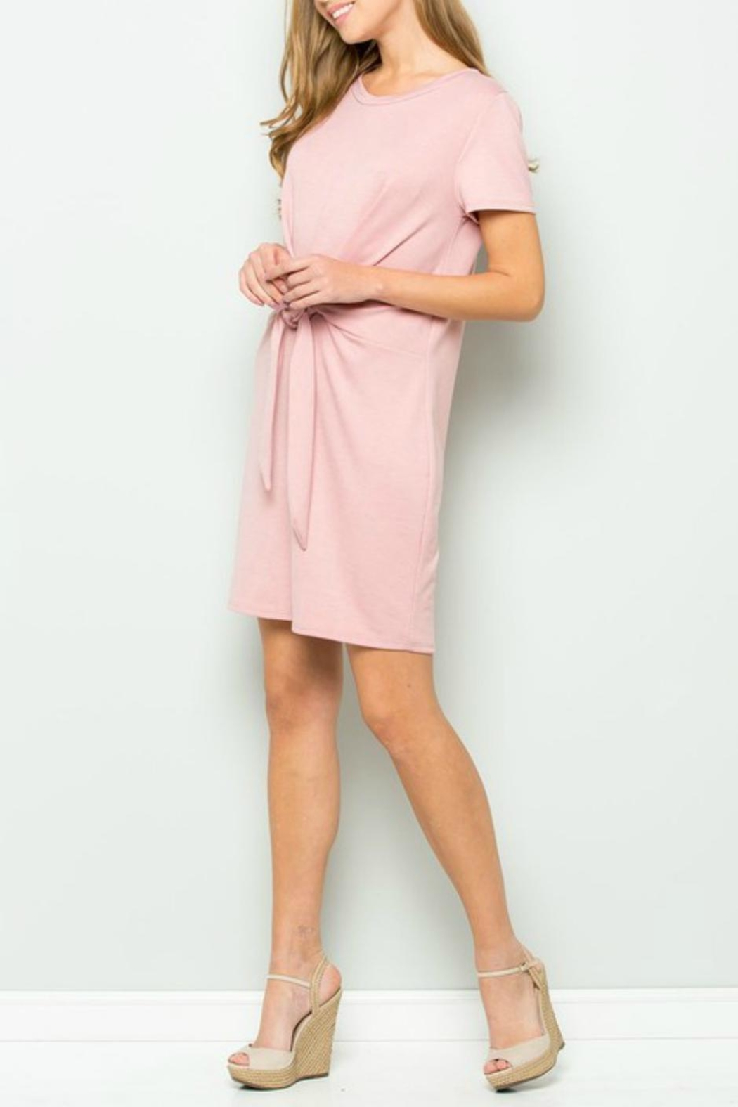 ee:some French-Terry Tie-Waist Dress - Front Full Image