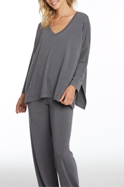 Nally & Millie French Terry V-Neck Side Slit Top - Front cropped