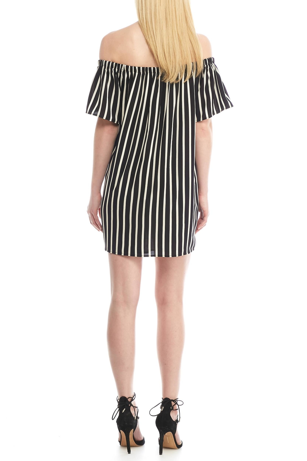 French Connection Striped Off Shoulder Dress - Front Full Image