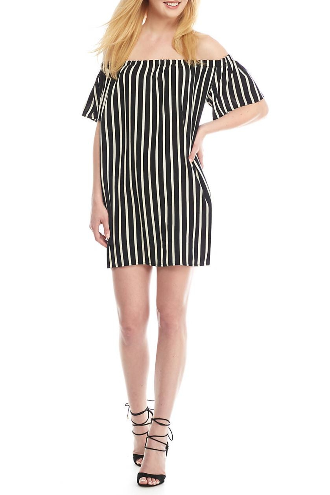 French Connection Striped Off Shoulder Dress - Main Image