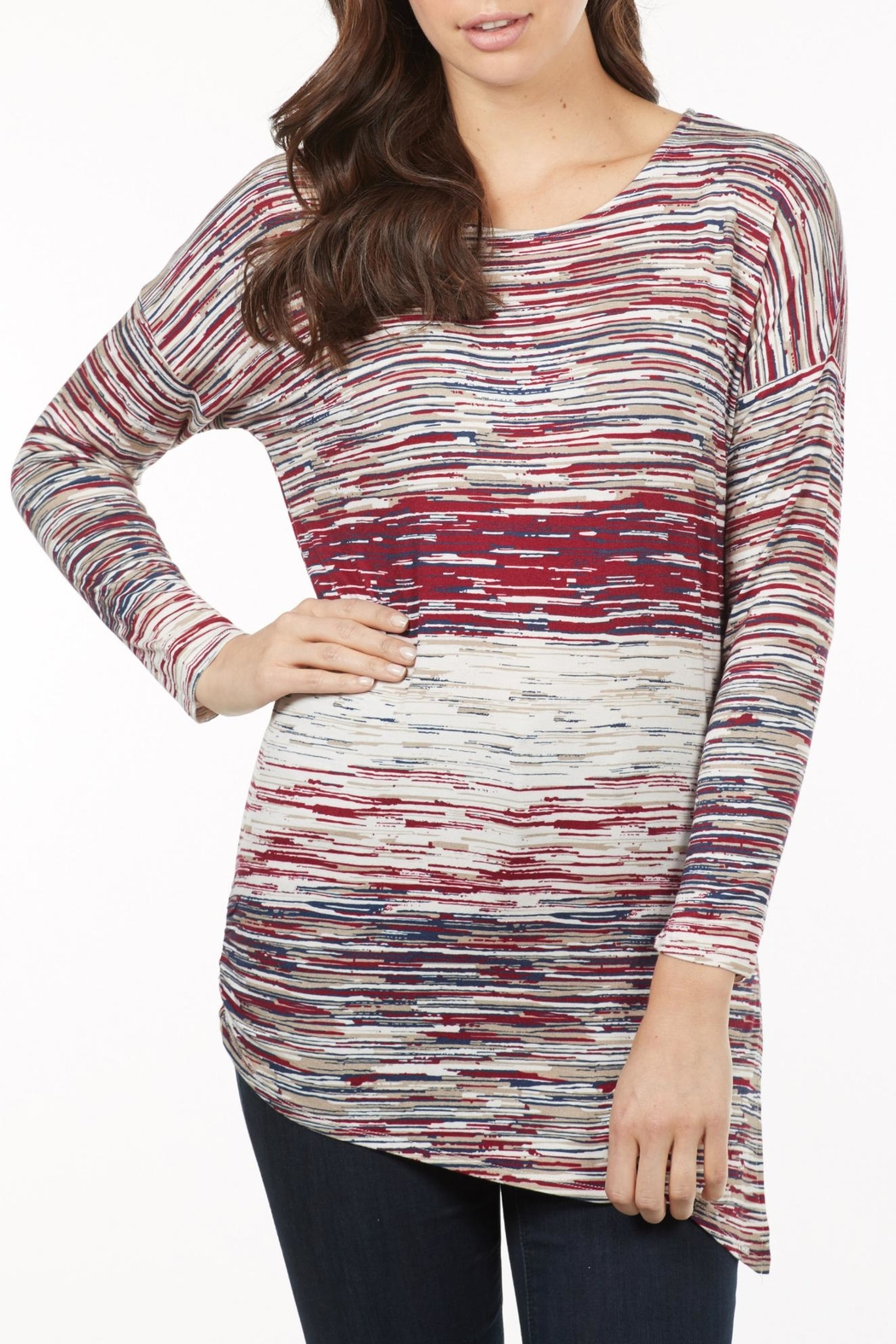 French Dressing Jeans Asymmetrical Stripe Top - Main Image