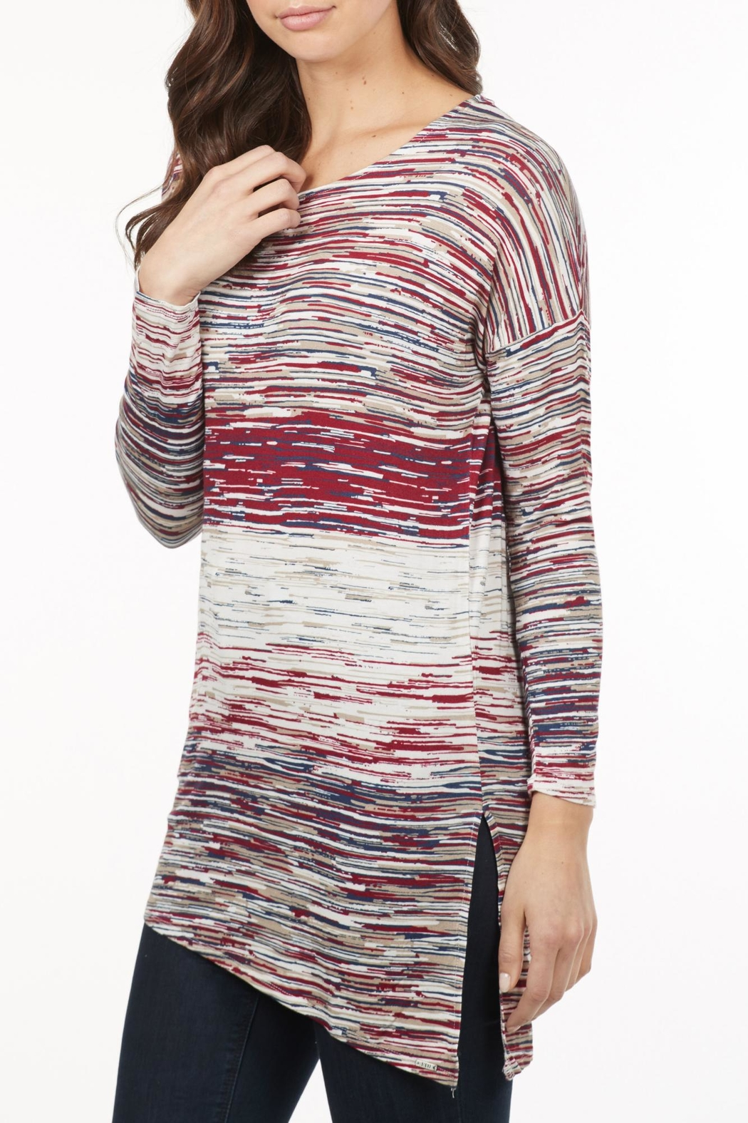 French Dressing Jeans Asymmetrical Stripe Top - Front Full Image