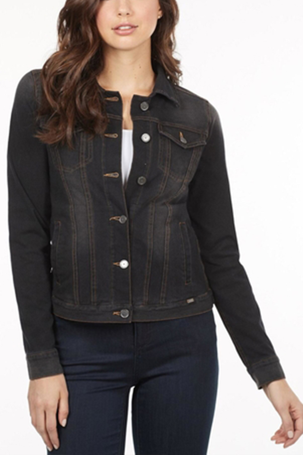 French Dressing Jeans Black Jean Jacket - Front Cropped Image