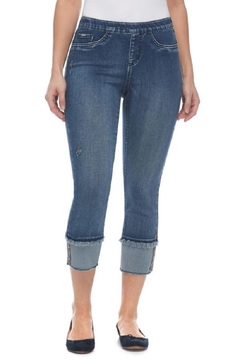 Shoptiques Product: Embroidered Frayed Jeans