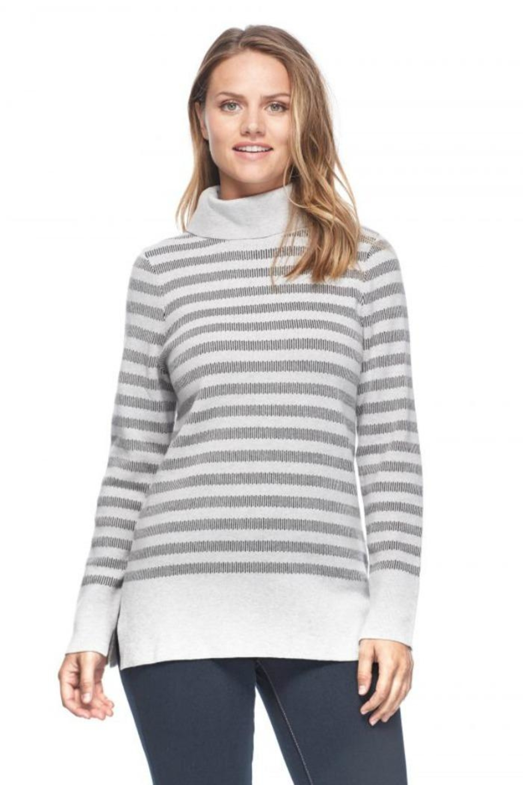 French Dressing Jeans Funnel-Neck Stripe Sweater - Front Cropped Image