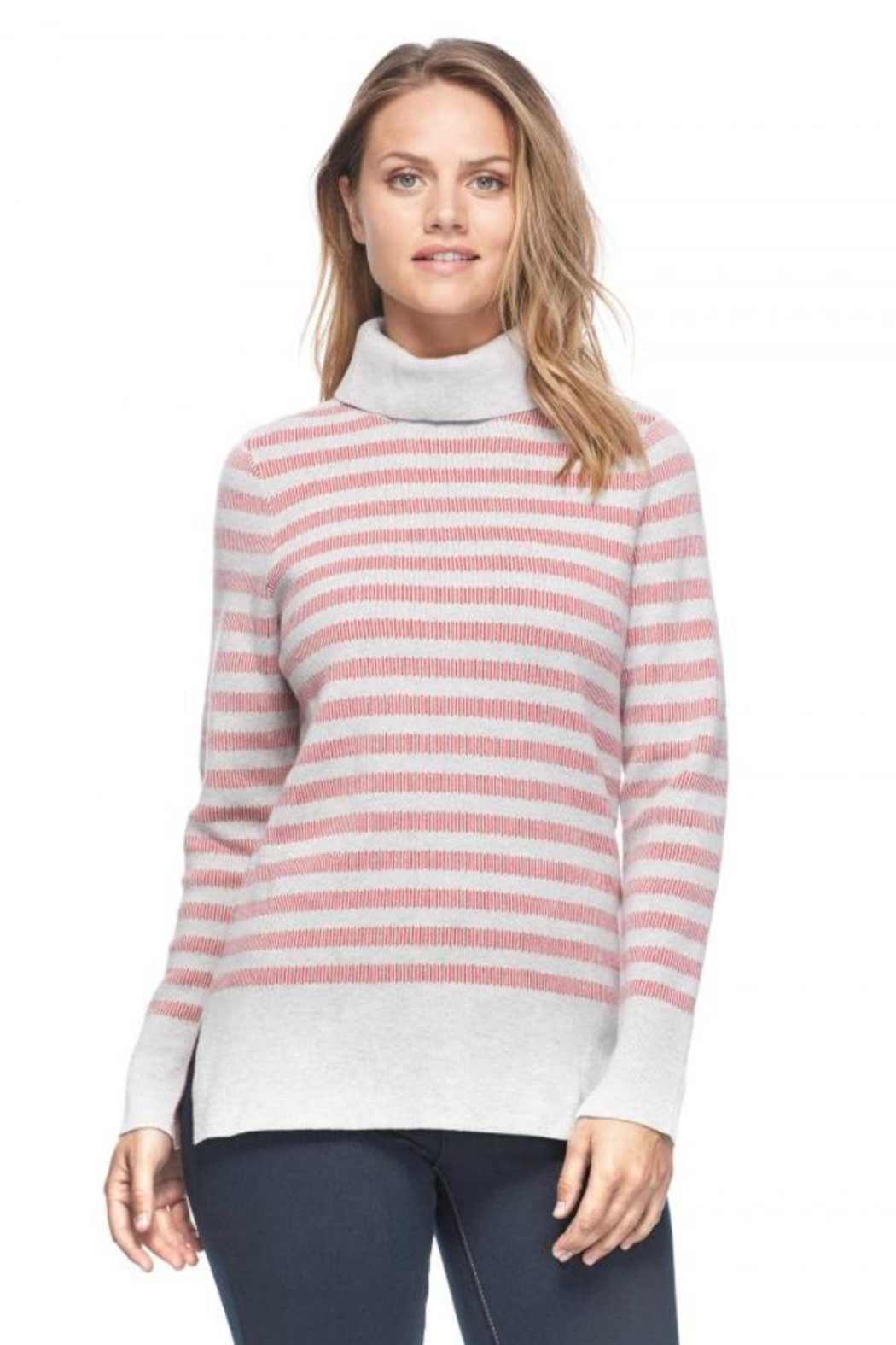 French Dressing Jeans Funnel-Neck Stripe Sweater - Main Image