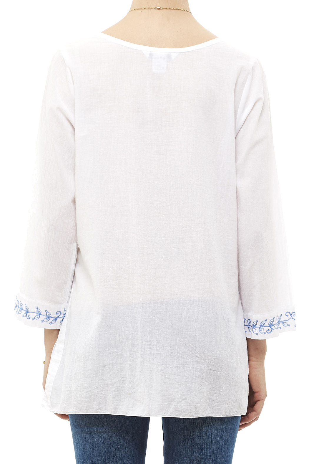 Fresco by Nomadic Traders White Embroidered Blouse - Back Cropped Image
