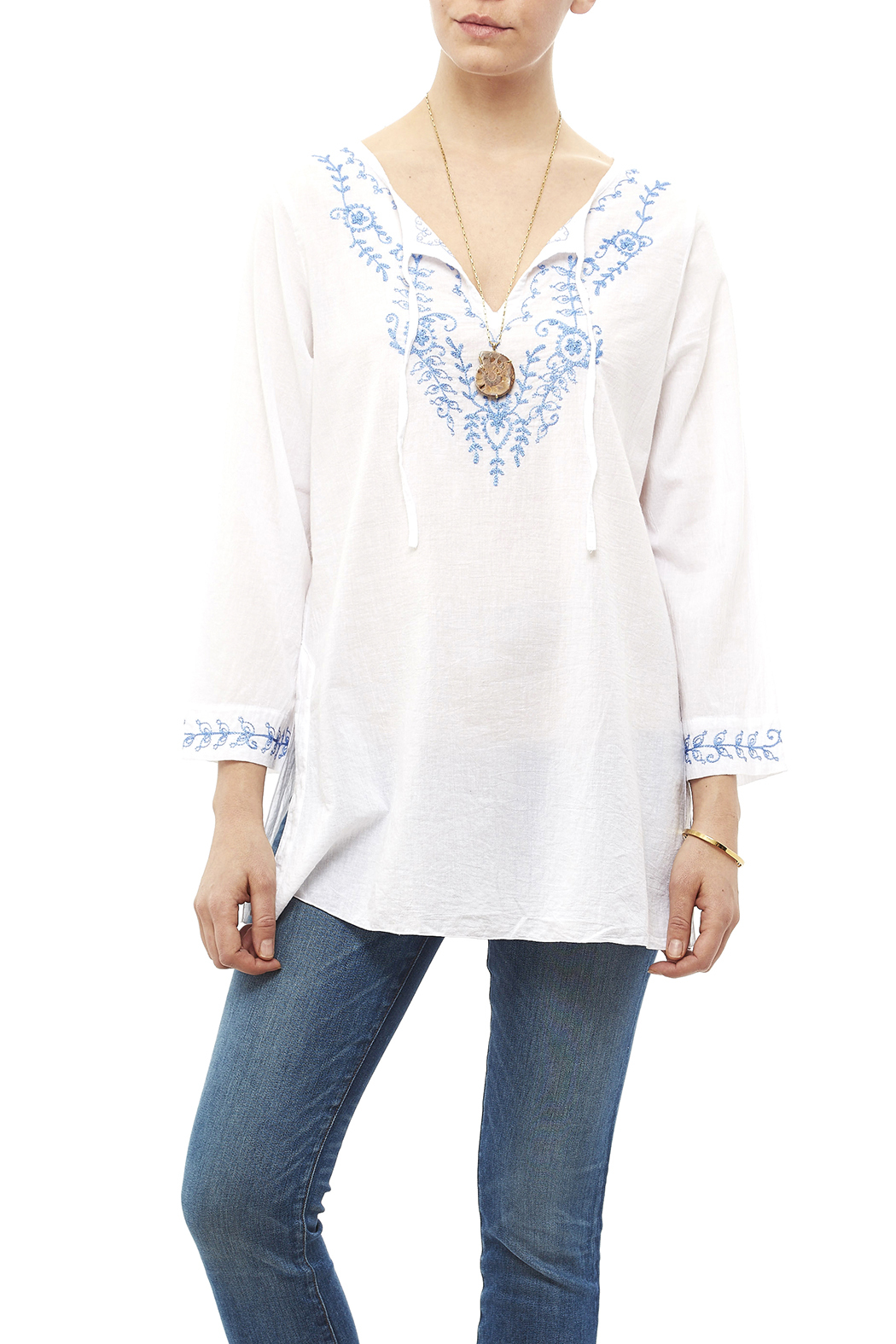 Fresco by Nomadic Traders White Embroidered Blouse - Main Image