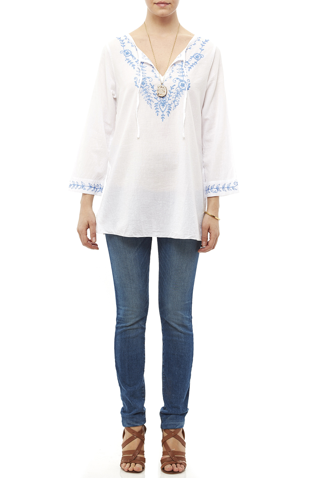 Fresco by Nomadic Traders White Embroidered Blouse - Front Full Image