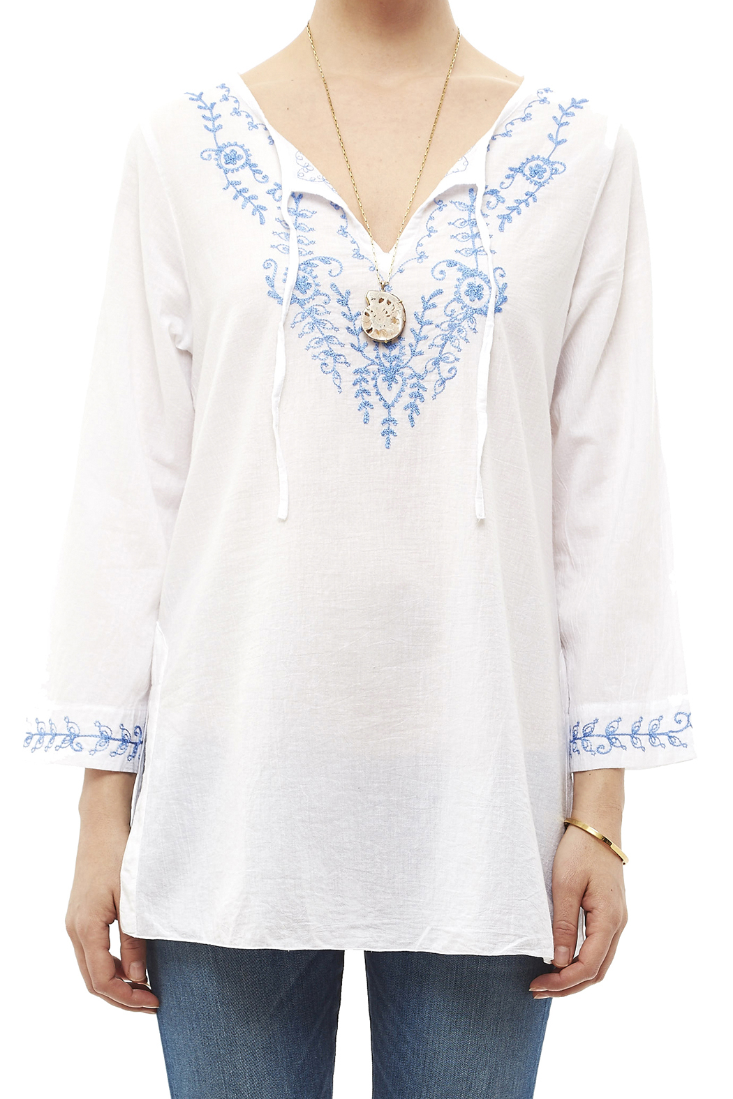 Fresco by Nomadic Traders White Embroidered Blouse - Side Cropped Image