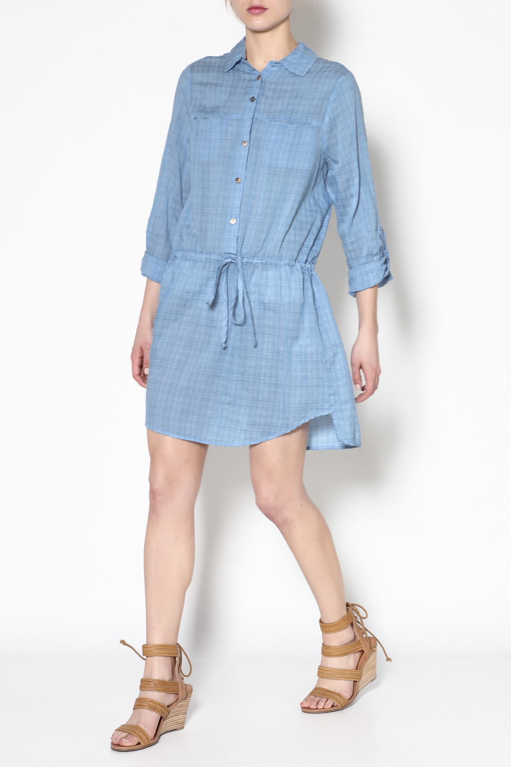 Fresh Laundry Blue Long Sleeve Dress - Front Full Image