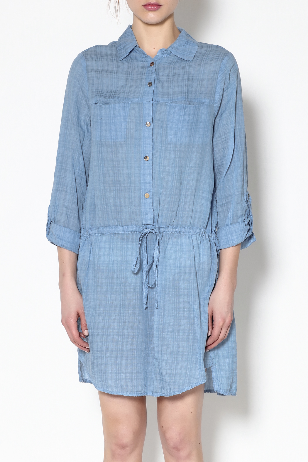 Fresh Laundry Blue Long Sleeve Dress - Side Cropped Image