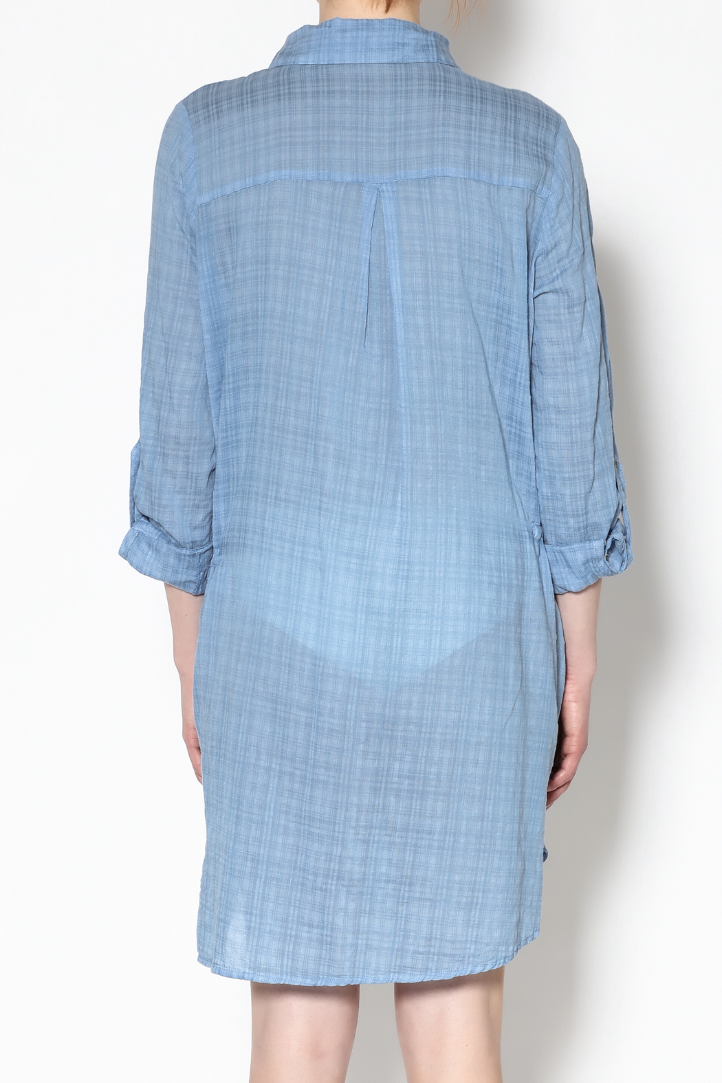 Fresh Laundry Blue Long Sleeve Dress - Back Cropped Image