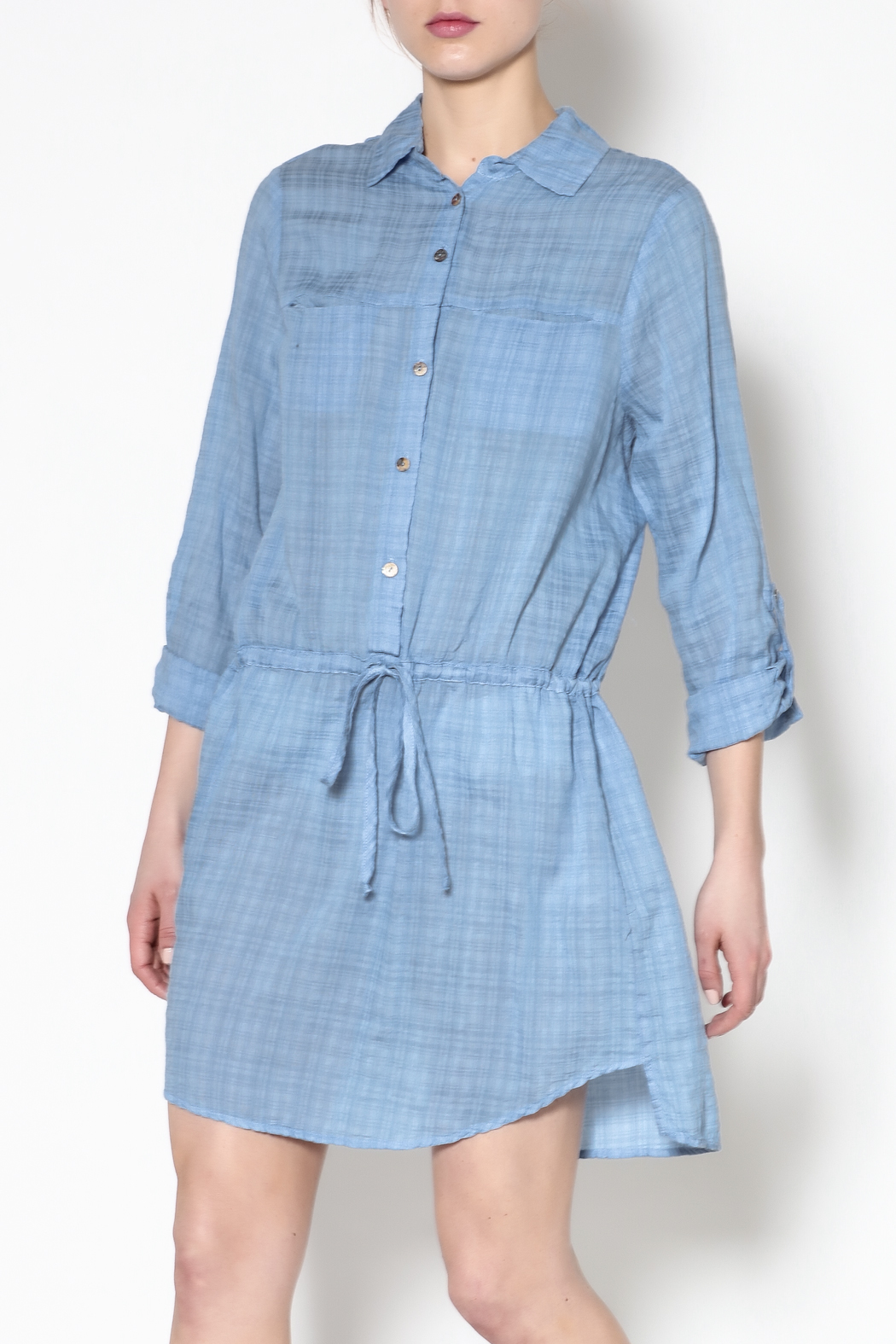 Fresh Laundry Blue Long Sleeve Dress - Front Cropped Image