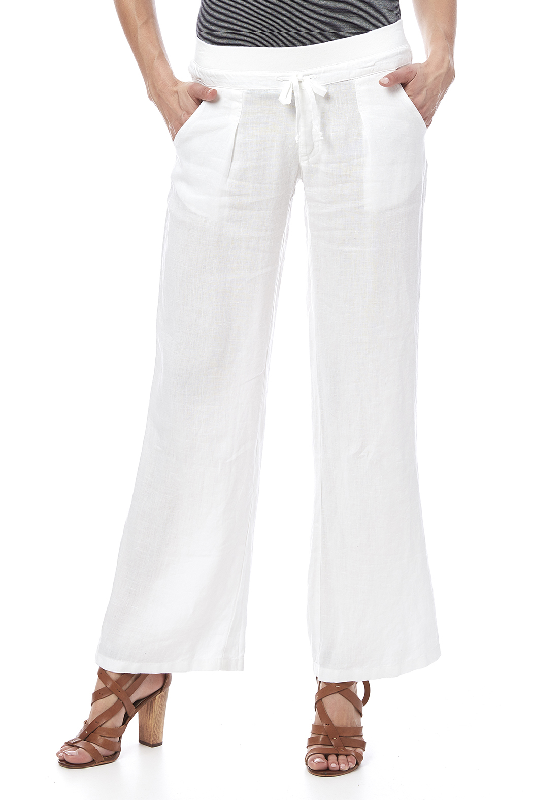 Fresh Laundry White Beachy Pant - Front Cropped Image