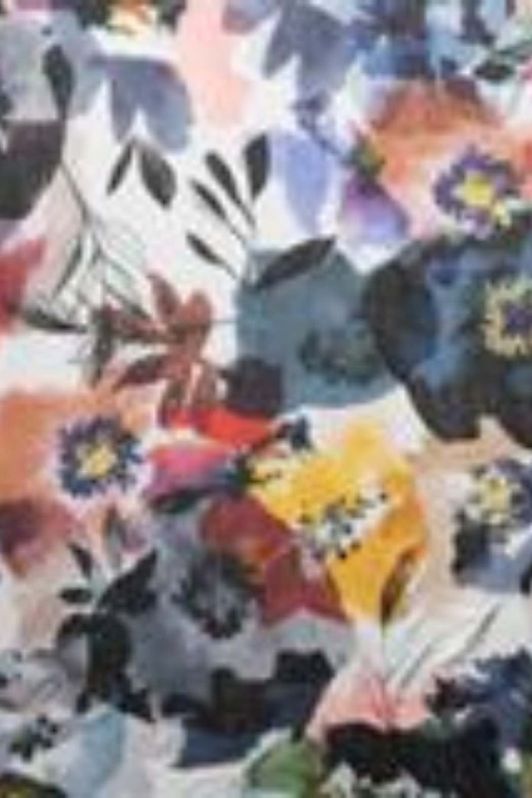 Kinross Cashmere FRESH POSIES PRINT SCARF - Front Full Image