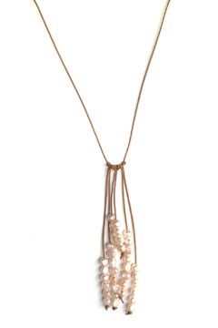 In2Design Fresh Water Pearls Leather Lariat - Product List Image