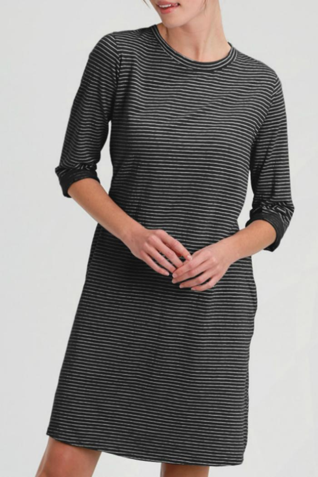 Fresh Produce Pinstripe Catalina Dress - Front Cropped Image